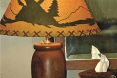 Turned Mesquite Lamp with Rustic Shade