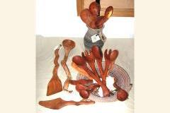 Handcrafted mesquite kitchen utensils by artist Isaac Alexander.